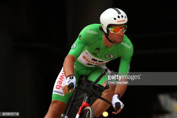 Michael Matthews of Australia riding for Team Sunweb in the green points jersey rides during the individual time trial stage 20 of the 2017 Le Tour...