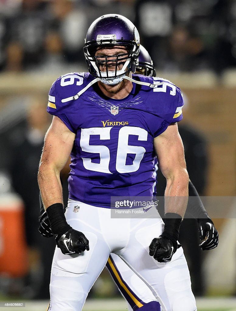 <a gi-track='captionPersonalityLinkClicked' href=/galleries/search?phrase=Michael+Mauti&family=editorial&specificpeople=5630085 ng-click='$event.stopPropagation()'>Michael Mauti</a> #56 of the Minnesota Vikings celebrates a sack of Cody Fajardo #8 of the Oakland Raiders during the fourth quarter of the preseason game on August 22, 2015 at TCF Bank Stadium in Minneapolis, Minnesota. The Vikings defeated the Raiders 20-12.