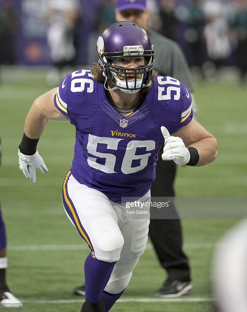 <a gi-track='captionPersonalityLinkClicked' href=/galleries/search?phrase=Michael+Mauti&family=editorial&specificpeople=5630085 ng-click='$event.stopPropagation()'>Michael Mauti</a> #56 of the Minnesota Vikings warms up prior to an NFL game against the Philadelphia Eagles at Mall of America Field, on December 15, 2013 in Minneapolis, Minnesota.