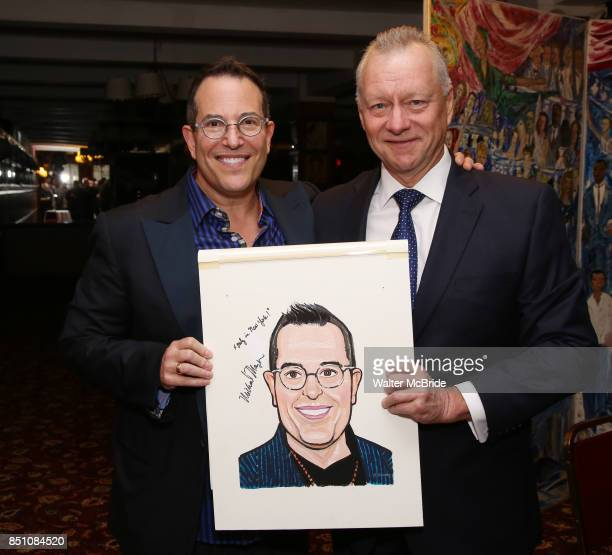 Michael Mayer and Max Klimavicius during the Michael Moore And Michael Mayer portrait unveilings as they join the Wall of Fame at Sardi's on...