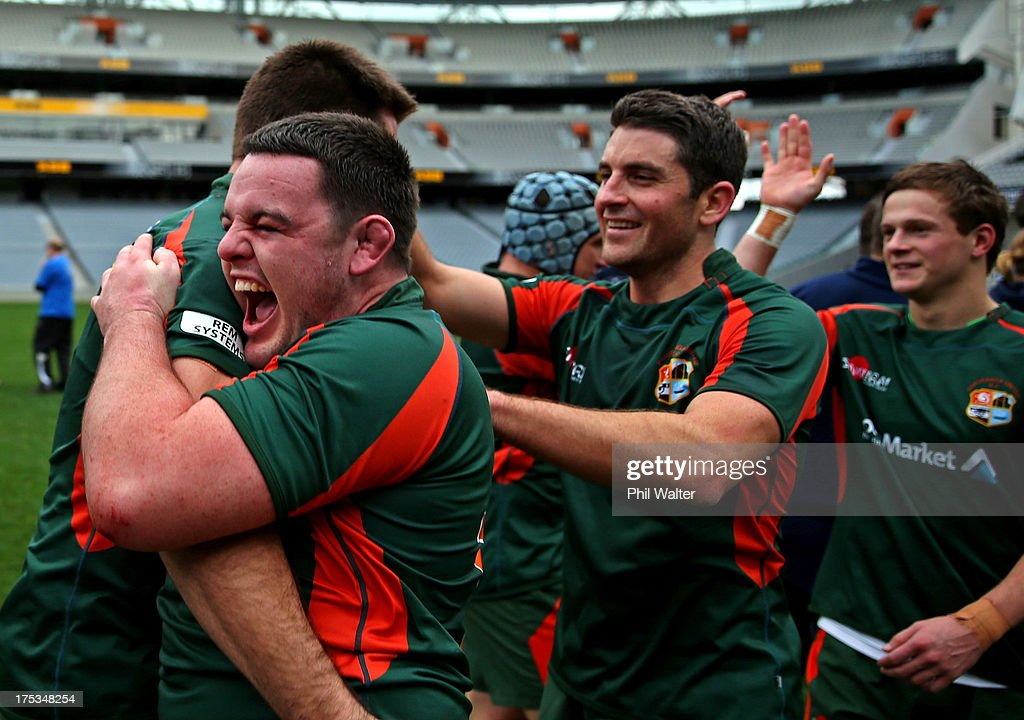 Michael McBeath of Pakuranga celebrates following the Gallaher Shield Final match between Pakuranga and University at Eden Park on August 3, 2013 in Auckland, New Zealand.