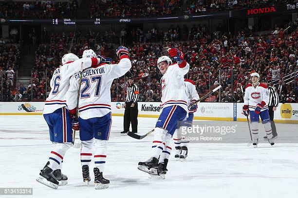 Michael McCarron Alex Galchenyuk PK Subban and Lars Eller of the Montreal Canadiens celebrate a second period goal against the Anaheim Ducks on March...