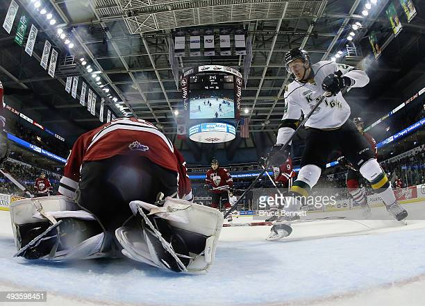 Michael McCarron of the London Knights skates against the Guelph Storm during the 2014 Memorial Cup tournament at Budweiser Gardens on May 21 2014 in...
