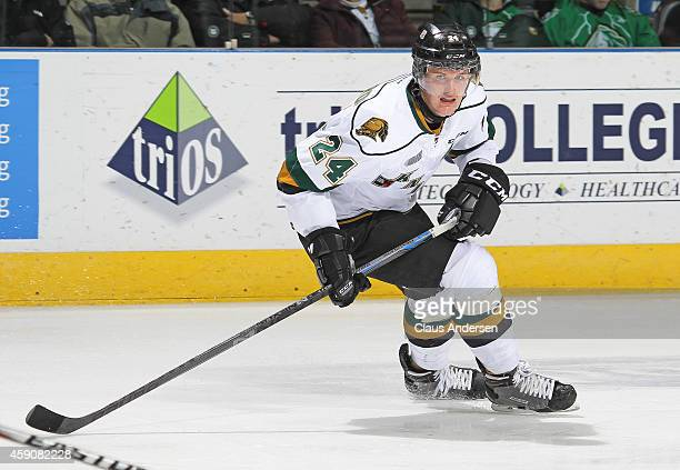 Michael McCarron of the London Knights skates against the Owen Sound Attack in an OHL game at Budweiser Gardens on November 14 2014 in London Ontario...