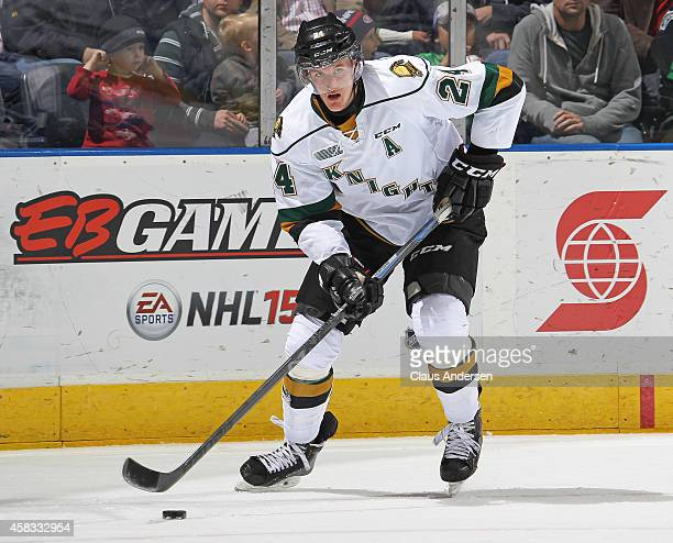 Michael McCarron of the London Knights skates with the puck against the Sudbury Wolves in an OHL game at the Budweiser Gardens on November 2 2014 in...