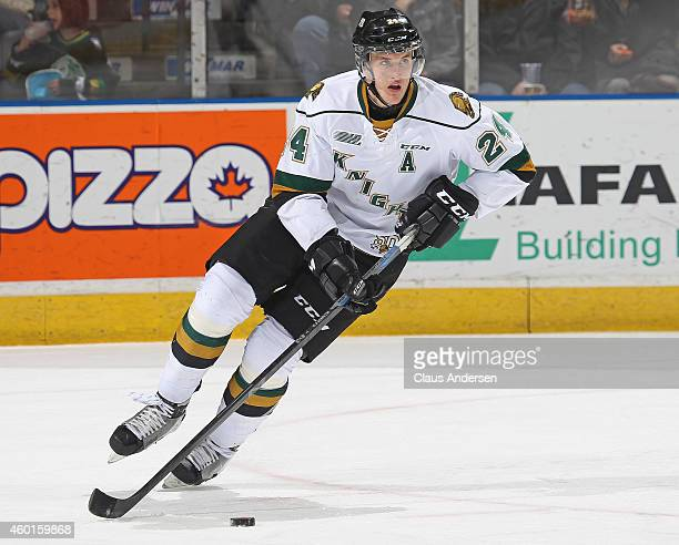 Michael McCarron of the London Knights skates with the puck against the North Bay Battalion in an OHL game at Budweiser Gardens on December 7 2014 in...