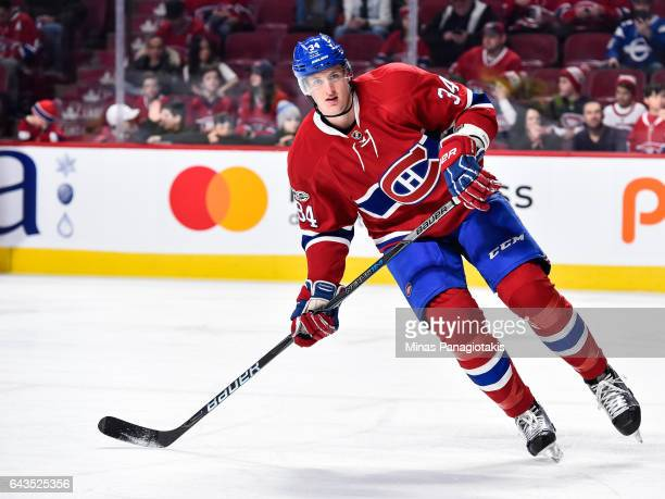 Michael McCarron of the Montreal Canadiens skates during the warmup prior to the NHL game against the Winnipeg Jets at the Bell Centre on February 18...
