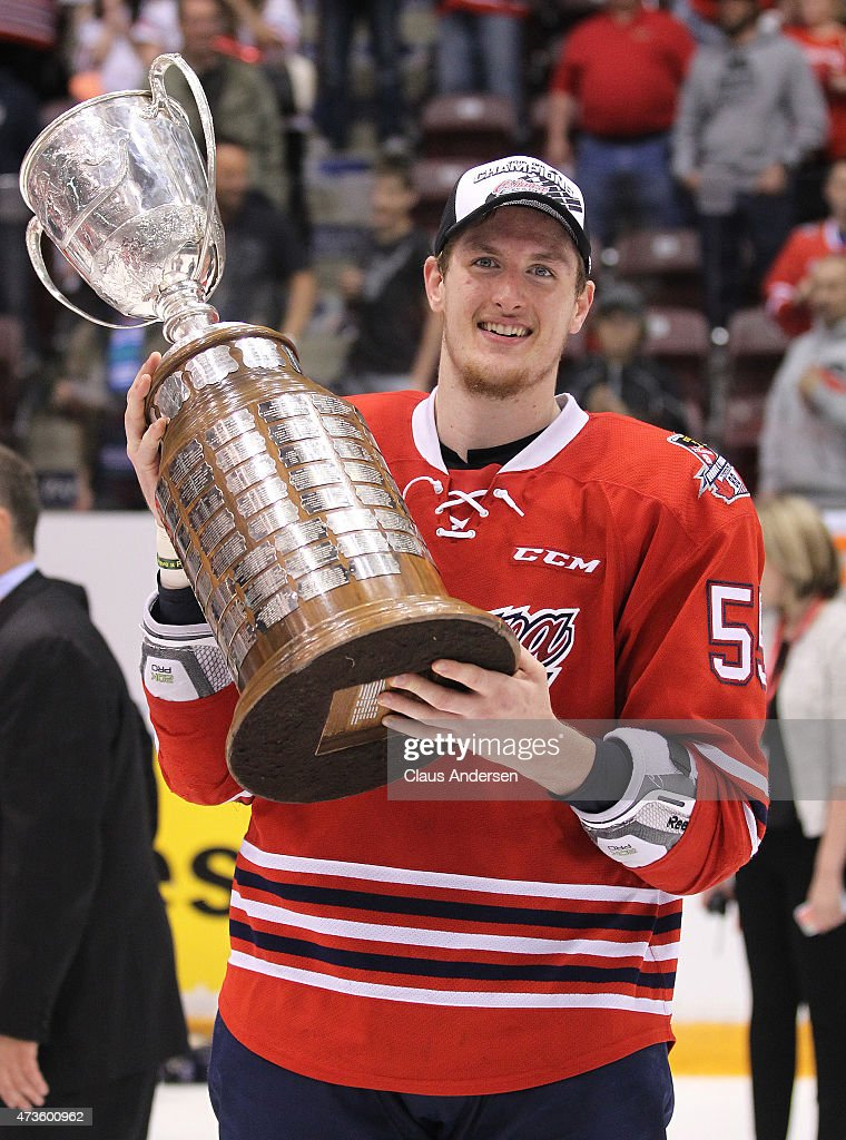 <a gi-track='captionPersonalityLinkClicked' href=/galleries/search?phrase=Michael+McCarron&family=editorial&specificpeople=10963479 ng-click='$event.stopPropagation()'>Michael McCarron</a> #55 of the Oshawa Generals poses with the Robertson Cup after helping defeat the Erie Otters in Game Five of the OHL Robertson Cup Championship Final at General Motors Centre on May 15, 2015 in Oshawa, Ontario, Canada. The Generals defeated the Otters 6-2 to win the OHL Championship 4-1.