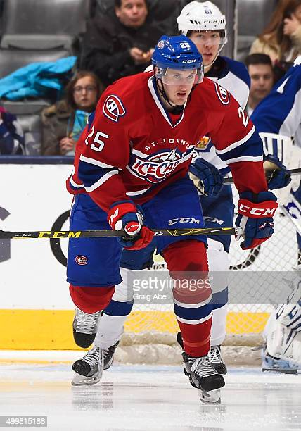 Michael McCarron of the St John's IceCaps skates up ice against the Toronto Marlies during AHL game action November 28 2015 at Air Canada Centre in...