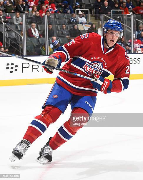 Michael McCarron of the St Johns IceCaps turns up ice against the Toronto Marlies during AHL game action on December 26 2015 at Air Canada Centre in...