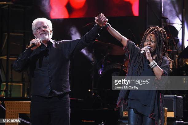 Michael McDonald and Catherine Russell perform onstage during 'Love Rocks NYC A Change is Gonna Come Celebrating Songs of Peace Love and Hope' A...