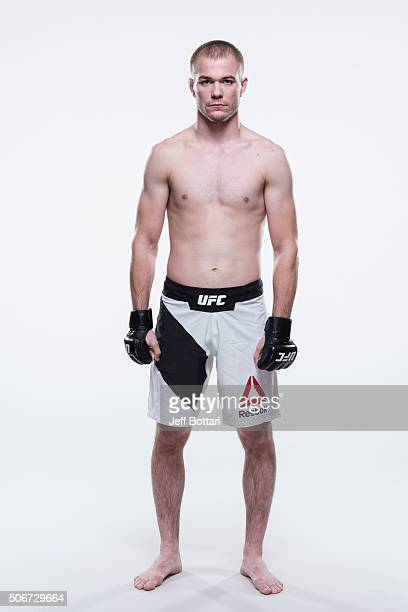 Michael McDonald poses for a portrait during a UFC photo session inside the MGM Grand Conference Center on December 30 2015 in Las Vegas Nevada