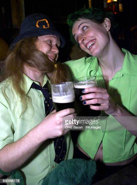 Michael McDonnell and Nuria Canestro celebrate St Patrick's Day in Dublin in the traditional way with a pint of stout Celebrations in the Irish...