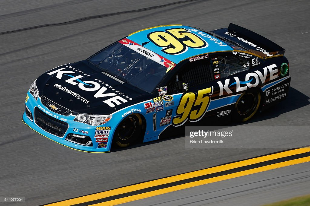 Michael McDowell, driver of the #95 KLOVE Radio Chevrolet, practices for the NASCAR Sprint Cup Series Coke Zero 400 at Daytona International Speedway on July 1, 2016 in Daytona Beach, Florida.