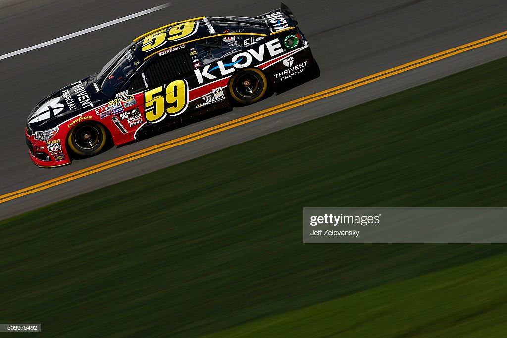 Michael McDowell, driver of the #59 Thirvent Financial Chevrolet, practices for the NASCAR Sprint Cup Series Daytona 500 at Daytona International Speedway on February 13, 2016 in Daytona Beach, Florida.