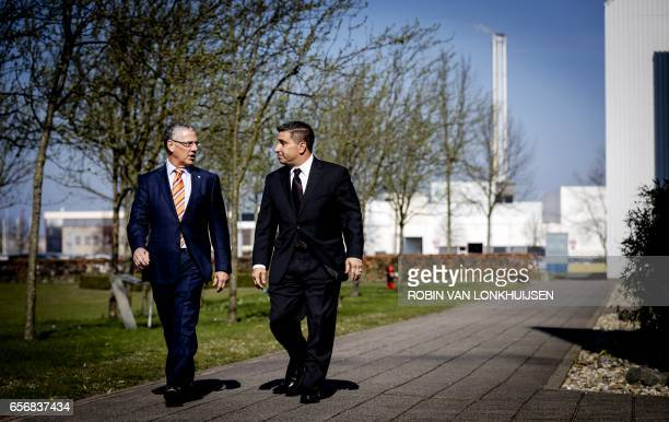 Michael McGarry CEO of PPG Industries and Vince Morales CFO of PPG Industries talk arrive in Amsterdam for a round table with the press in Amsterdam...