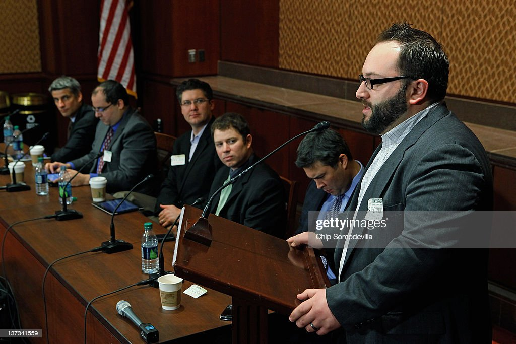 Michael McGeary (R) of the Hattery Labs Engine Advocacy project participates in a panel discussion organized by NetCoalition about the Protection IP Act (PIPA) and the Stop Online Privacy Act (SOPA) at the U.S. Capitol January 19, 2012 in Washington, DC. Opposed to SOPA and PIPA in their current forms, NetCoalition is a lobying group representing Internet and technology companies, including Google, Yahoo!, Amazon.com, eBay, IAC, Bloomberg LP, Expedia and Wikipedia.