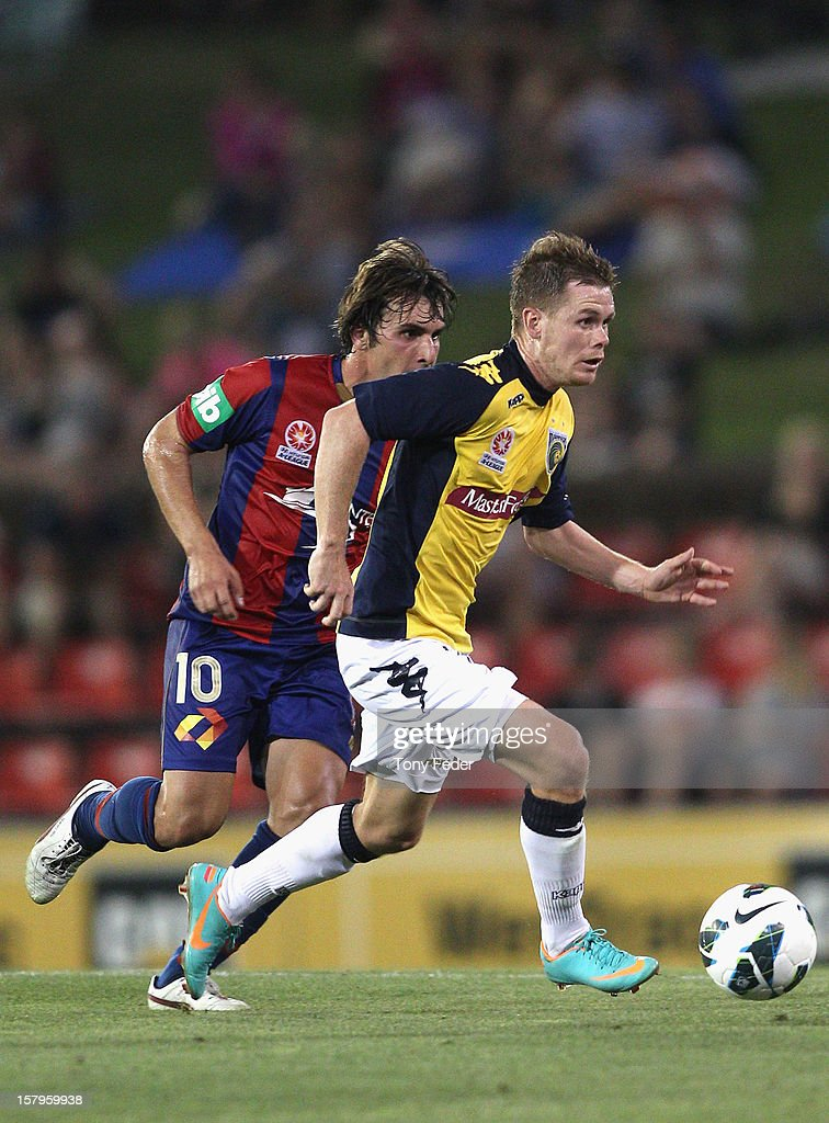 Michael McGlinchey of the Mariners controls the ball during the round ten A-League match between the Newcastle Jets and the Central Coast Mariners at Hunter Stadium on December 8, 2012 in Newcastle, Australia.
