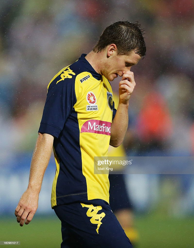 Michael McGlinchey of the Mariners reacts after a missed goal opportunity during the round 23 A-League match between the Central Coast Mariners and the Western Sydney Wanderers at Bluetongue Stadium on March 2, 2013 in Gosford, Australia.
