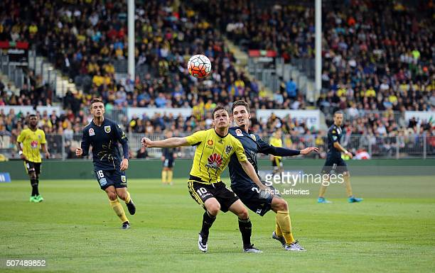 Michael McGlinchey of the Wellington Phoenix keeps an eye on the ball during the round 17 ALeague match between the Wellington Phoenix and the...