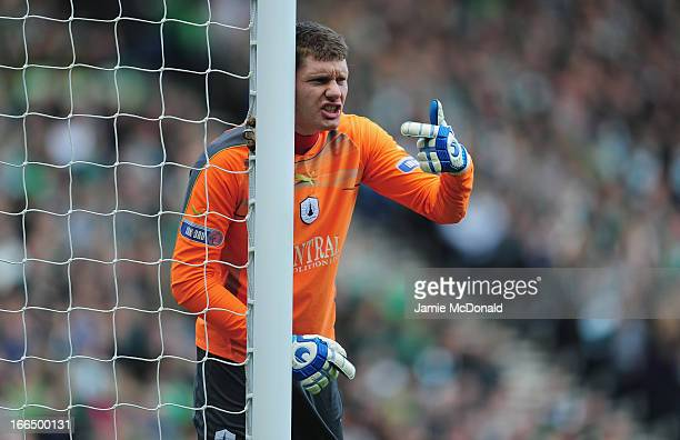 Michael McGovern of Falkirk in action during The William Hill Scottish Cup Semi Final between Falkirk and Hibernian at Hampden Park on April 13 2013...