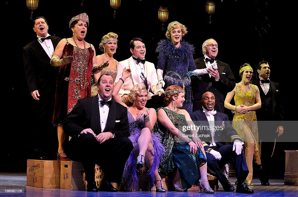 Michael McGrath, Judy Kaye, Kelli O'Hara, Matthew Broderick, Blythe Danner, Terry Beaver and cast attend the 'Nice Work If You Can Get It' Broadway curtain call at Imperial Theatre on December 19, 2012 in New York City.