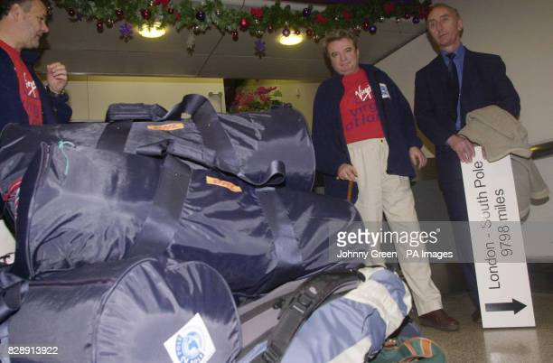 Michael McGrath looks at his mountain of luggage as he prepares to fly from Heathrow airport west London to begin his attempt to become the first...