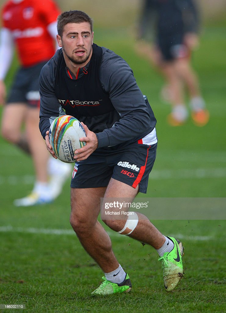 Michael McIlorum in action during the England training sessionh session for the Rugby League World Cup on October 29, 2013 in Loughborough, England.