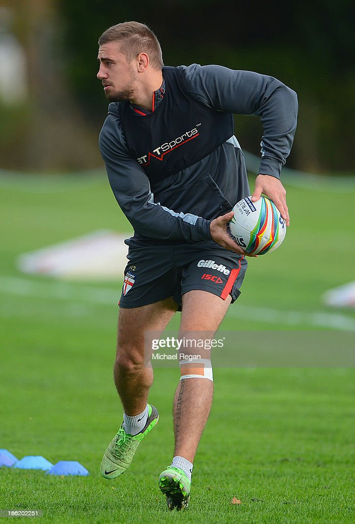 Michael McIlorum of England in action during the England media session for the Rugby League World Cup on October 29, 2013 in Loughborough, England.
