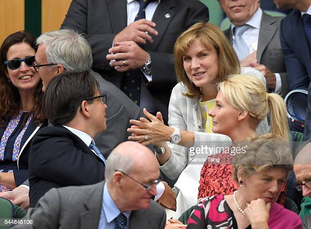 Michael McIntyre and Fiona Bruce attend day eight of the Wimbledon Tennis Championships at Wimbledon on July 04 2016 in London England