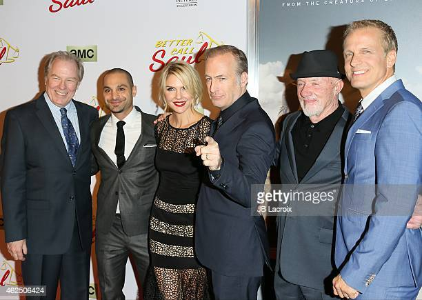 Michael McKean Michael Mando Rhea Seehorn Bob Odenkirk Jonathan Banks and Patrick Fabian attend the 'Better Call Saul' Los Angeles Series Premiere...