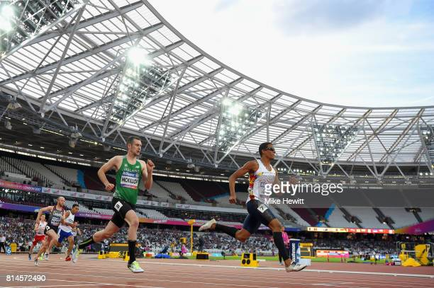 Michael McKillop of Ireland and Dixon De Jesus Hooker Velasquez of Colombia compete in Men's 800m T38 Round 1 Heat 1 during the IPC World...
