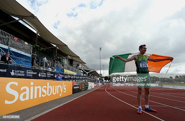 Michael McKillop of Ireland celebrates after winning the Men's 1500m T38 event during day five of the IPC Athletics European Championships at Swansea...