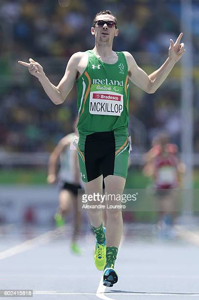 Michael McKillop of Ireland celebrates the victory after the Men's 1500 meter T37 final at Olympic Stadium during day 4 of the Rio 2016 Paralympic...