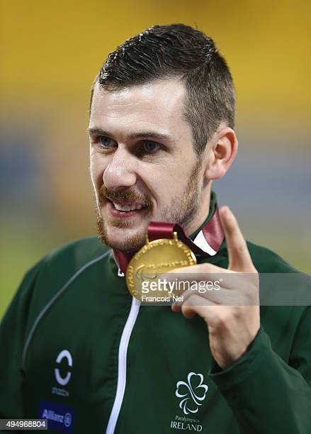 Michael McKillop of Ireland celebrates winning gold in the men's 1500m T37 final during the Evening Session on Day Nine of the IPC Athletics World...