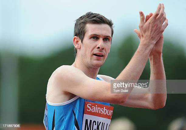 Michael McKillop of Ireland celebrates winning Men's 800m race during the IPC Grand Prix Final at Alexander Stadium on June 29 2013 in Birmingham...