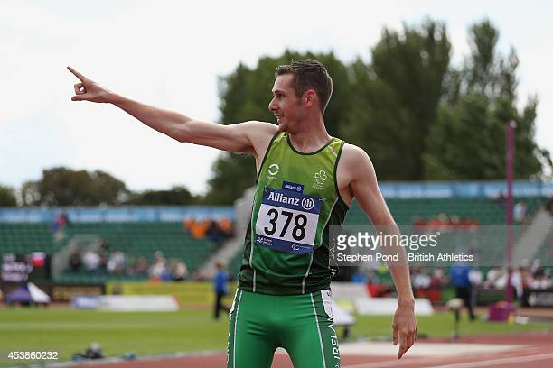 Michael McKillop of Ireland celebrates winning the Men's 800m T38 event during day two of the IPC Athletics European Championships at Swansea...