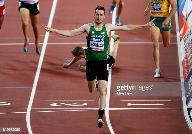 Michael McKillop of Ireland crosses the line to win the Men's 800m T38 Fina during day three of the IPC World ParaAthletics Championships 2017 at the...