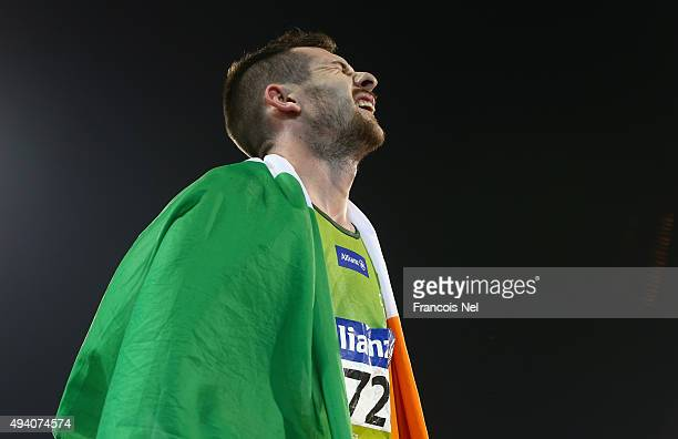 Michael McKillop of Ireland reacts after winning the en's 800m T38 final during the Evening Session on Day Three of the IPC Athletics World...