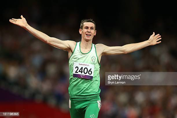 Michael Mckillop of Ireland wins gold in the Men's 1500m T37 Final on day 5 of the London 2012 Paralympic Games at Olympic Stadium on September 3...