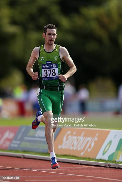 Michael McKillop of Ireland wins the Men's 1500m T38 event during day five of the IPC Athletics European Championships at Swansea University Sports...