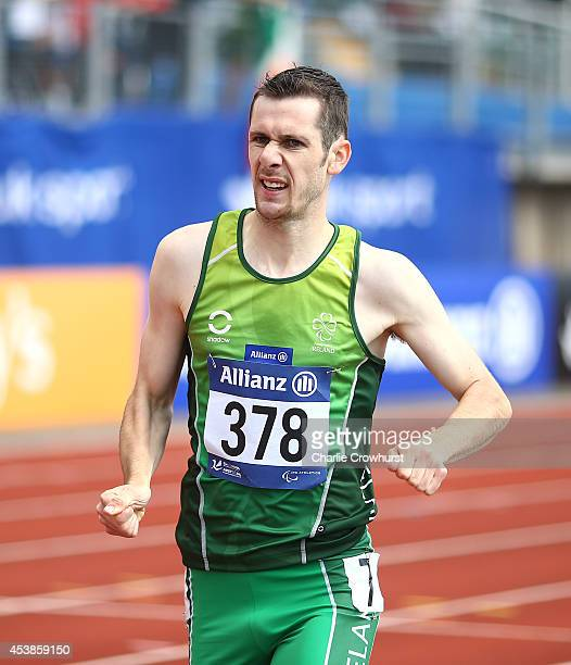 Michael McKillop of Ireland wins the mens 800m T38 final during day two of the IPC Athletics European Championships at Swansea University Sports...