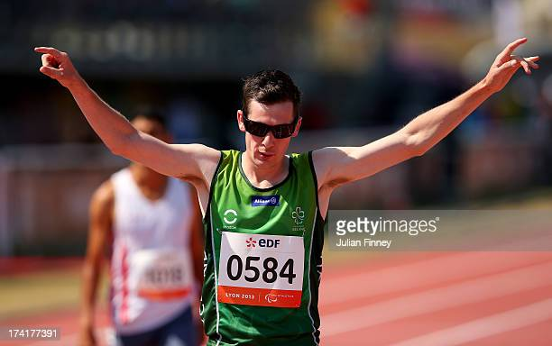 Michael McKillop of Republic of Ireland celebrates his win in the Men's 800m T37 Final during day two of the IPC Athletics World Championships on...