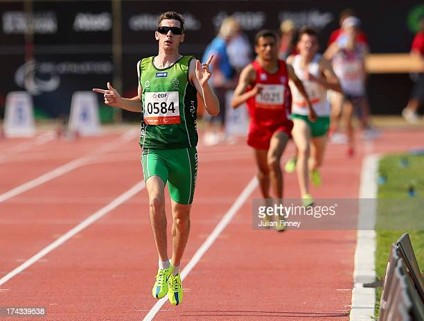 Michael McKillop of Republic of Ireland celebrates on his way to winning the Men's 1500m T38 final during day five of the IPC Athletics World...