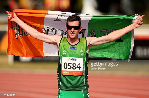 Michael McKillop of Republic of Ireland celebrates winning the Men's 1500m T38 final during day five of the IPC Athletics World Championships on July...