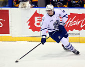 Michael McLeod of the Mississauga Steelheads controls the puck against the Erie Otters during OHL game action on November 27 2015 at the Hershey...