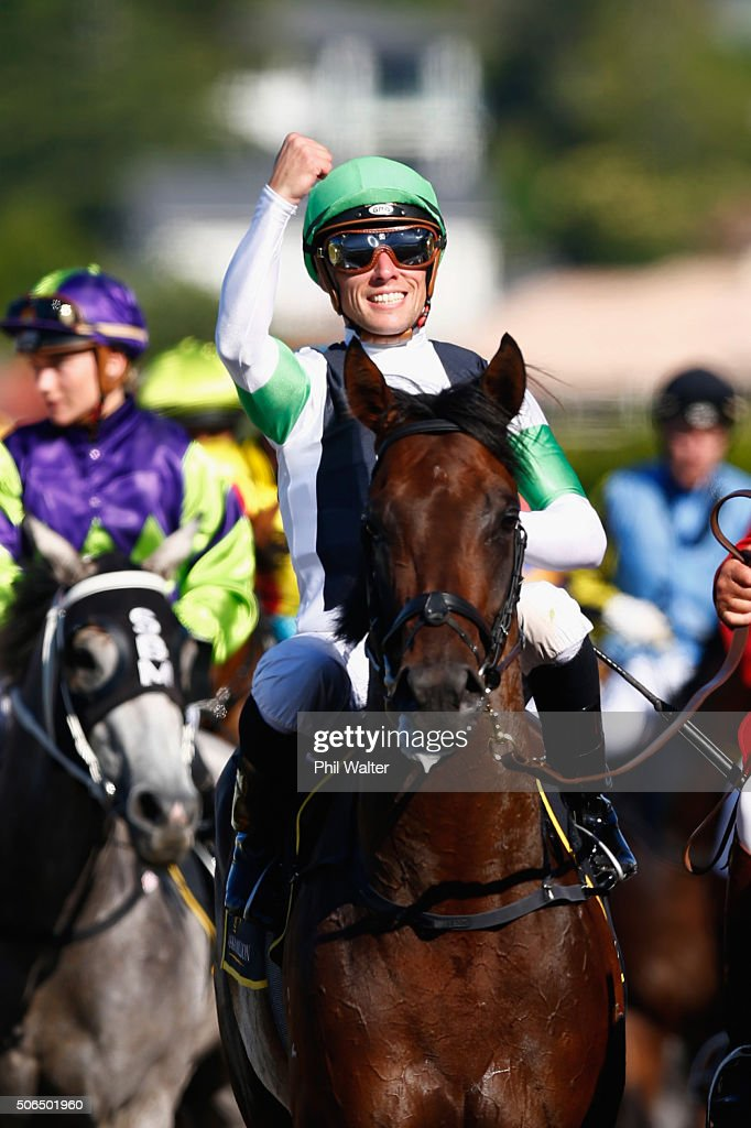 Michael McNab riding Raghu celebrates after winning the Karaka Three Year Old Mile at the Ellerslie Racecourse on January 24 2016 in Auckland New...