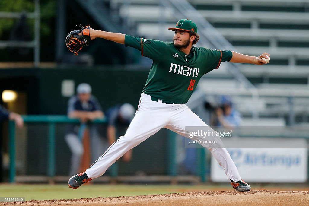 Michael Mediavilla of the Miami Hurricanes throws the ball against the Pittsburgh Panthers on May 14 2016 at Alex Rodriguez Park at Mark Light Field...
