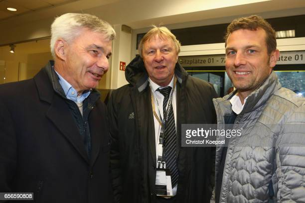 Michael Meier Horst Hrubesch and Markus Weinzierl talk during the Club of Former National Players Meeting at Signal Iduna Park on March 22 2017 in...