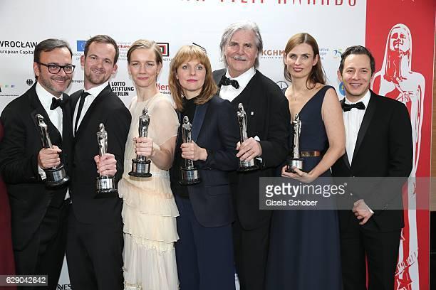 Michael Merkt Jonas Dornbarch Sandra Hueller Maren Ade Peter Simonischek Janine Jackowski and Trystan Puetter with award Cast Film Toni Erdmann...